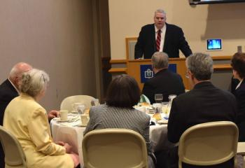 Dr. Philip Fromuth, diocesan superintendent for Catholic education, greets guests at the Diocesan Board of Education Dinner May 18 at DeSales University Center, Center Valley. The board honored 25-year educators and retiring principals at the dinner, (Photos by John Simitz)