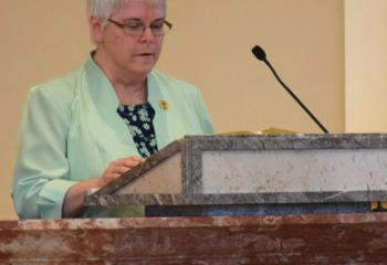 Sister Bonita Smith offers the Second Reading. (Photo by John Simitz)