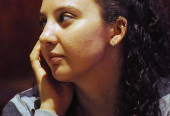 Danielle Marino of Bethlehem listens to the discussion. (Photo by Ed Koskey)