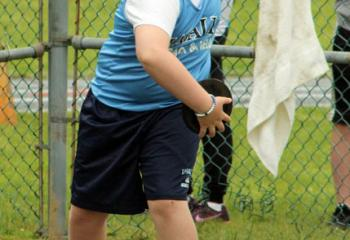 Gabriel Anton, LaSalle Academy, Shillington, gets into position while competing in the discus event.