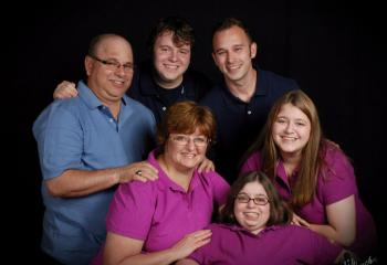 Members of the Elchert family are, from left: front, mother Michele, Amber and Mary; back, father Deacon Elchert, Andrew and Gregory.