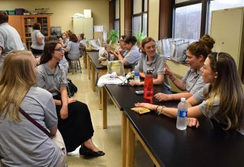 A group of teachers from St. Ann School, Emmaus enjoying lunch and a discussion are, from left, Kayla Stanek, Breanna Watkins, Caitlyn Shuster, Jaclyn Rocks and Rachel Knecht.