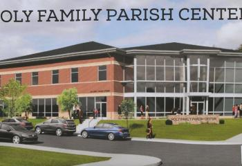 A rendition of the future parish center that is expected to be completed by August 2018.