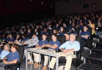 Notre Dame High School, Easton students relax for the movie.