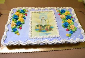 A cake honoring Our Lady of Fatima was enjoyed by families after the holy hour.