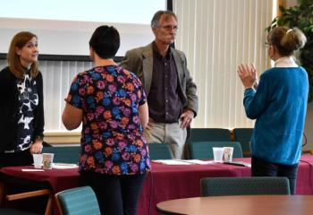 Workshop presenters Caroline DiPipi-Hoy, left, and Daniel Steere take questions from participants during the break.