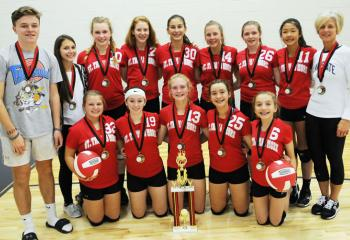 Members of the volleyball team from St. Thomas More, Allentown, who won the CYO Volleyball Tournament, are from left: front, Jillian Schmidt, Alexa Lehman, Carly Rohrbach, Lauren Nelson and Hannah Horvath; back, assistant coach Stephen Reynolds, coach Jenny Kozuch, Reilly Blair, Elena Pursell, Kaitlyn Janny, Caleigh Nelson, Kylie Heinze, Kara Wang and coach Jessica Reynolds.
