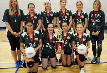 Members of the volleyball team from St. Anne, Bethlehem, who placed second in the CYO Volleyball Tournament, are from left: front, Stella Fazil, Andrea Falteich, Adriana Dias and Lilly Paranee; back, coach Anne Cleaver, Vanessa Speciale, Nicole Meehan, Elizabeth Williams, Simone Reyes and coach Elizabeth Williams.