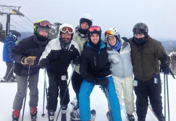 Philip Maas, second from left, seminarian for the Diocese of Allentown, enjoys his favorite pastime skiing with friends.