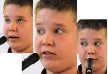 Liam Skopal of St. Theresa School reacts with a variety of eye movements as he spells different words.