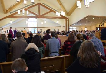 Faithful from St. Benedict, Mohnton participate in the Mass in celebration of their Family Life Center.