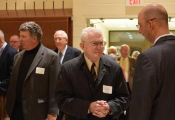 Tony Balistrere, right, principal of Berks Catholic High School, Reading, chats with Francis Bodner during the reception.