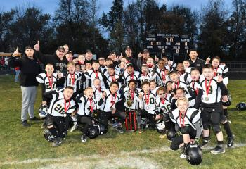 The BCHS Youth Football Mites team wins its first championship as the 2017 champion of the Berks County Youth Football League.(Photo courtesy of Stephanie Conlon)