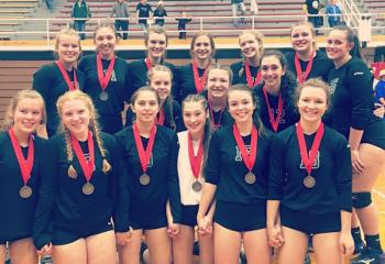 The girls' volleyball team of Nativity BVM High School, Pottsville, the District XI Class A runner ups, display their silver medals.(Photo courtesy of Jennifer Daubert)
