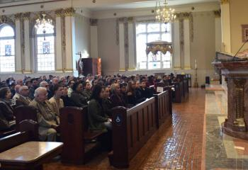 Bishop of Allentown Alfred Schlert delivers the homily and expresses his support to the catechumens during the ceremony.