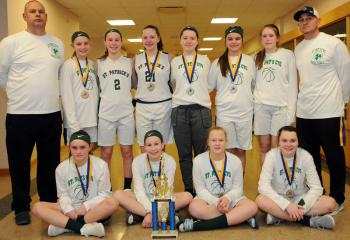 St. Patrick, Pottsville grade school girls with the second-place trophy, from left: front, Kamryn Abdo, Maya Golden, Alex Ball and Jill Guzick; back, coach Dennis Siket, Livia Hable, Brooke Siket, Taylor Welsh, Gillian Blankenhorn, Alex Blum, Jules Plachko and head coach Ron Abdo.