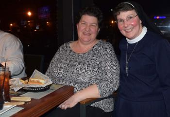 Sister Rose, right, chats during the break with Heidi Wilson, parishioner of Holy Guardian Angels, Reading.