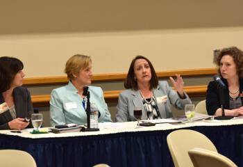Beth Dobis Beers, third from left, makes a point as fellow panelists listen, from left, Sheri Leo, Denise Hozza and Claudia Wert.