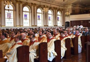 Clergy and faithful gather June 2 in the cathedral for Ordination of a Priest.