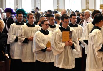 Seminarians from St. Charles Borromeo Seminary participate in the processional.