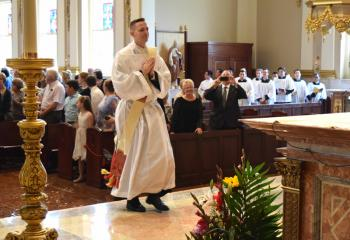 Then Deacon John Hutta enters the sanctuary at the Cathedral of St. Catharine of Siena, Allentown for his ordination.