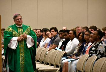 Bishop Alfred Schlert welcomes participants and their families to Quo Vadis and Fiat Days vocation camps as celebrant of the opening liturgy July 15 in Connolly Chapel at DeSales University, Center Valley.