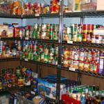 Pantry items in the Reading service office.