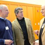 Michael Barski and Deacon Tony Campanell share a moment with keynote presenter Marcelino D' Ambrosio.