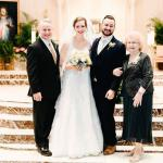 John Maria, left, seminarian for the Diocese of Allentown, enjoys his son's wedding day with, from left: his daughter-in-law, Abby; his son, Jimmy; and his mother, Theresa.