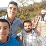 Miguel Ramirez, left, Diocesan seminarian, explores the Pagoda, a historic building atop the south end of Mount Penn overlooking Reading, with fellow seminarians Andres Galeano, center, and Jairo Maldonado.