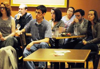 Approximately 40 young adults attended the talk to learn about maintaining their Catholic values in the workplace. (Photo by Ed Koskey)