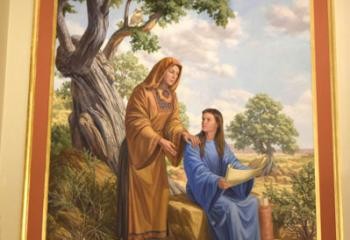 A mural of St. Anne and her daughter, Mary, honors the patroness of the parish