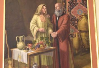 A mural of St. Joachim and St. Anne pays tribute to the parents of the Blessed Mother.