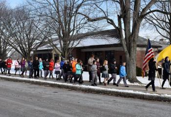 Students and staff at St. Francis Academy Regional School, Bally march and pray the rosary in support of the national March for Life in Washington, D.C. (Photo courtesy of St. Francis Academy Regional School)