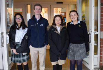 Among the student volunteers for the gala are, from left, Alex Xu, Allentown Central Catholic High School (ACCHS), Connor Duffy Notre Dame High School (NDHS), Easton: Ivory Wang, ACCHS; and Victoria Dyer, NDHS.