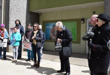 Pro-lifers gather in prayer in front of Planned Parenthood. That morning Thayer spoke in front of Allentown Women's Center, 31 S. Commerce Way, Bethlehem.