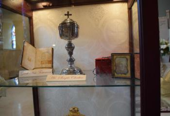The reliquary containing the chalice of Bishop Neumann, fourth bishop of Philadelphia, also displays his copy of the New Testament written in Greek.