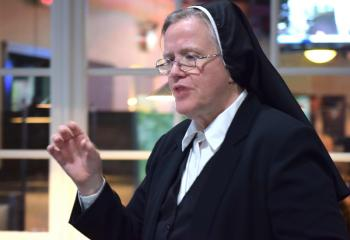 "Sister Geralyn Schmidt discusses ""Gender and God's Plan for Humanity."""