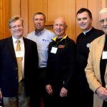 Mary Fran Hartigan (l) Robert Olney with keynote presenters Curtis Martin, Danny Abramowicz and Fr. Wade Menezes and Deacon Tony Campanell (r)