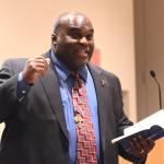 Deacon Harold Burke- Sivers speaks to participants at Spirit 2012