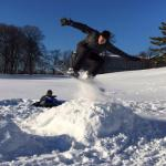 Giuseppe Esposito, Diocesan seminarian, snowboards on the grounds of St. Charles.
