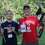 Jeffrey Tomczyk, left, seminarian for the Diocese of Allentown, celebrates winning the golf and paintball tournament at Charles Borromeo Seminary with Carson Kain, seminarian for the Diocese of Lincoln, Nebraska.