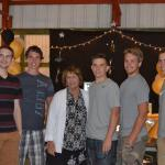 Diocesan seminarian Aaron Scheidel, second from right, spends time with his grandmother and cousins at a family celebration, from left, Michael Gallagher, Joseph Fifelski, Candice Scheidel, Zach Dicesare and Brandon Scheidel.